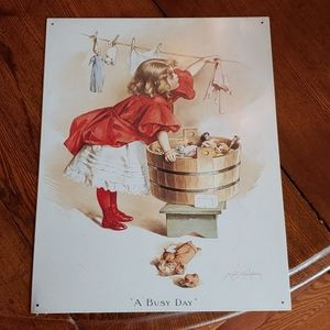 "Ivory Girl ""Busy Day"" Tin Advertising Sign"